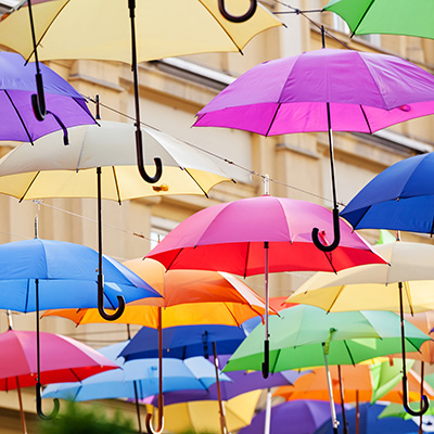 street decoration with colorful open umbrellas at old part of Belgrade, Serbia